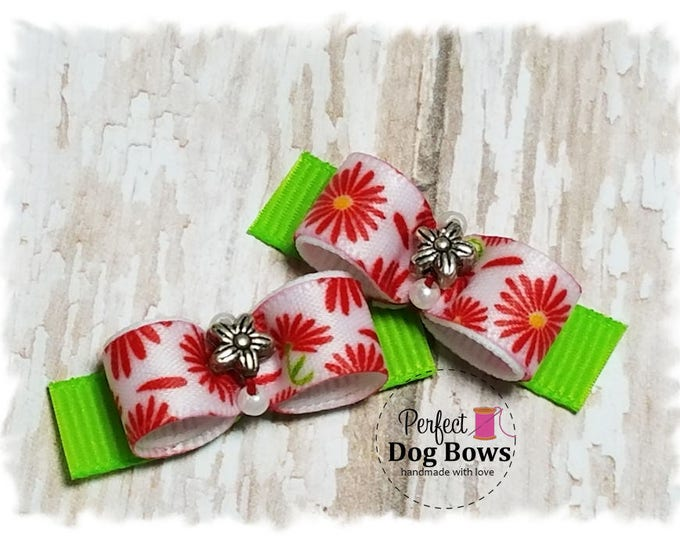 Flowers Dog Bows, Small Pet Bow, Bows for Dogs, Summer Dog Hair Bow
