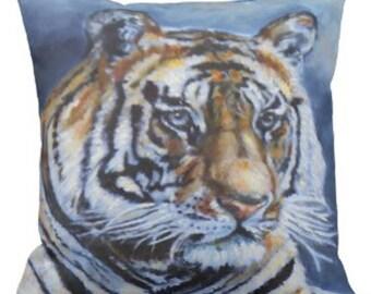 Bengal Tiger Pillow, Pillow Cover,  Colorful Throw Pillow, Wildlife Art Pillow, Living Room Decor, Bedroom 16x16 20x20