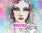 Printable Digital Download - Fantasy Faces- A Coloring  Book for Grownups and All Ages by Molly Harrison - 25 Images