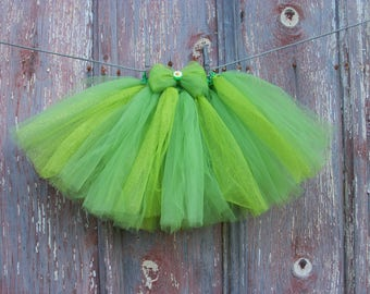 Size 2T-6 Sparkly Green Tutu with Matching Flower Hair Bow