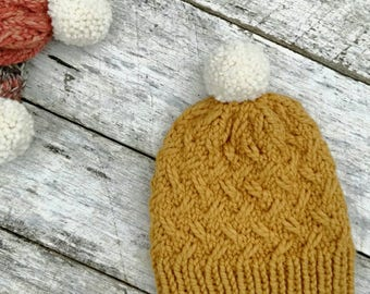 Bulky wool knit hat. Laurel beanie. Mustard thick yarn. Finished product. Women's/tweens winter hat. Pompom toque.  Yellow winter hat.