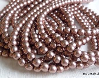 4mm Czech Beads  - Czech Glass Beads - Metallic Pale Dogwood - Smooth Round - 50 pcs (G - 451)