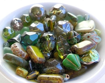 25% OFF Sale Olivine Green Bead Soup Mix  - Czech Glass Beads 30 grams from Mountain Shadow