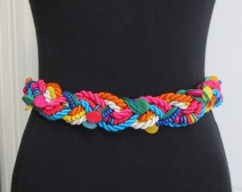 Vintage 80s Belt Colorful Rainbow Braided Cord Beaded Beads Stretch 30 to 33 Inches Medium Large White