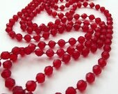 Vintage necklace - Cherry Red plastic beads - Costume Jewelry