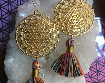 SRI YANTRA Tassel Earrings shakti yogini priestess jewelry