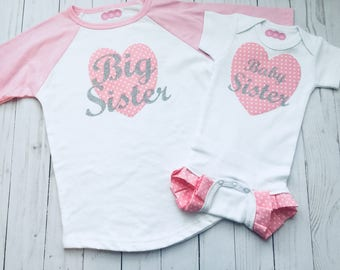 Big sister little sister outfits- sibling set- bsby shower-- coming home outfits-- pink and  silver