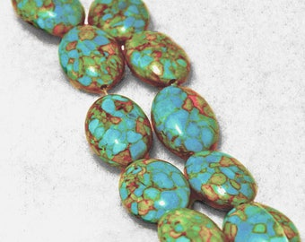 River Bend- Mosaic Turquoise Beads- gemstone beads-oval shaped beads-designer beads-faux turquoise beads-semiprecious stone-jewelry supplies