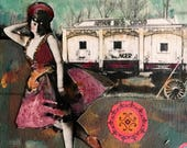Circus Painting Vintage woman  series  mixed media on canvas Heather Murray