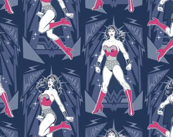 Wonder Woman Poses in Navy Blue Licensed DC Camelot Fabric By The Yard