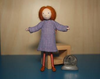 Little Felt Friend doll in pale purple cotton dress