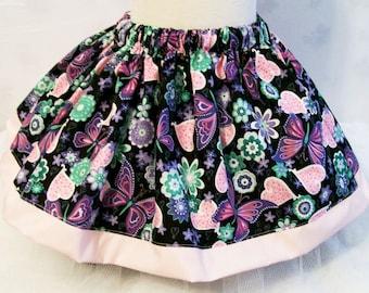Butterflies on Black Girls Skirt, Girls Clothing, Baby Girls Skirt, Toddler Girls Skirt, Big Girls skirt, handmade Skirt, USA Made, #242