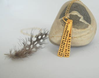 "Inspirational quote Jack Kerouac ""On The Road"" artisan necklace by Chocolate and Steel GOLD"