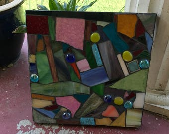 Change of Direction Stained Glass Mosaic Abstract Wall Hanging