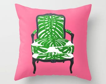 TROPICS ON PINK Pillow 4 sizes and indoor and outdoor fabrics