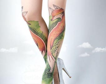 SALE///endsAug22/// Tattoo Tights, Fox Tights nude Closed Toe one size full length printed tights, pantyhose, nylons, tattoo socks