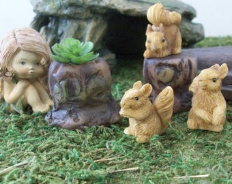 SUMMER SALE 20 % off Set of 3 miniature squirrels with tree trunk planters,  terrariums or table top decoration