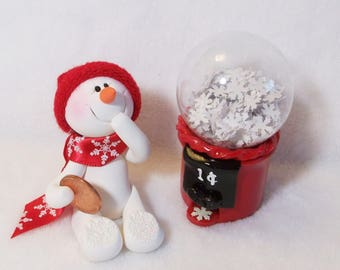 Giggles the Snowman ornament and a gum ball machine: polymer clay snowman with penny