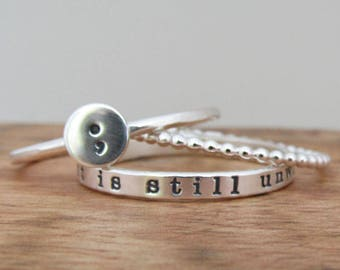 Semi Colon Ring Set, THREE Stackable Rings, Awareness, Semiclon Jewelry, Personalized Hand Stamped Ring Set