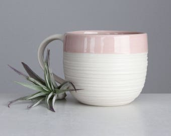 Blush Pink Mug Porcelain, Handmade 14 Ounce Pottery Mug Pink, Ceramic Groove Mug in Dusty Pink, Pink Pottery Mug with Handle