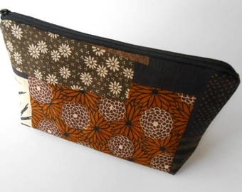 Large Cosmetic Zipper Pouch Large Padded Cosmetic Bag Flat Bottom Zipper Pouch Clutch ECO Friendly NEW Asian Panels