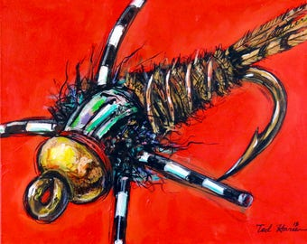 Bead Head Pheasant-tail on Red, archival print
