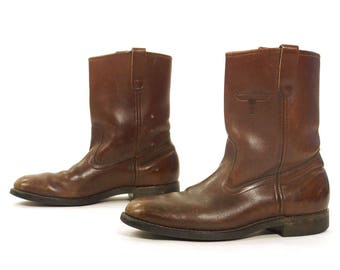 Brown Leather Motorcycle Boots / Vintage 90s Shortie Work / Roper / Campus / Mason Western Boots / Pull On / Women's Size 10 / Men's 8.5