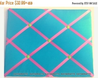 July 4th Sale Turquoise and Pink Memory Board French Memo Board, Fabric Ribbon Bulletin Board, Ribbon Pin Board, Teen Bedroom Decor, New Bab