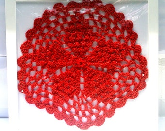 Hand Crocheted Red and Gold Star Doily Vintage Handmade 5 Point Star Round Cotton Thread 1960 Crochet Doily White Frame
