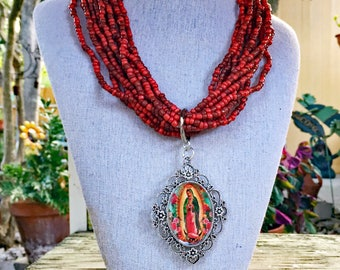 Virgin de Guadalupe Red Necklace