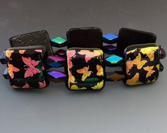 Butterfly Bracelet, Copper and Hot Pink Butterflies Dichroic Jewelry Fused Glass Stretch Bracelet -Butterflies on Parade