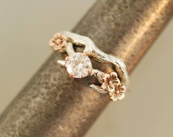 For Tommy Cherry Blossom Branch,twig ring,branch ring,alternative engagement ring,wedding ring, gold twig ring,