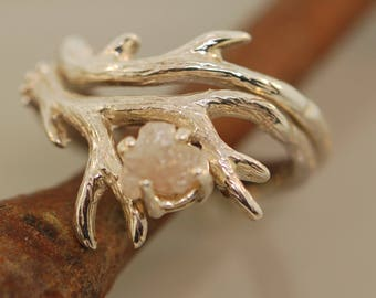 For Alex Wolfe Antler Ring 2 set with gray black rough diamond