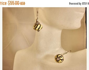 Moving Sale 40% Off Sterling Silver Tiger Lampwork Earrings with a Bali Bead Cap