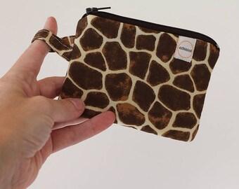 giraffe bag, Minimalist pocket wallet, Change purse, cash wallet, mini zipper pouch, earbud case, wallet for mom, gift card holder small bag