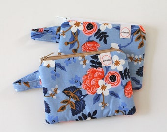 Small zipper pouch, pocket wallet, Change purse, earbud pouch, business card holder, cotton and steel blue floral fabric coral, id holder