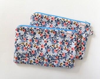zipper pouch, cash envelope, Eyeglass case, Pen pencil, cash wallet, Cosmetic makeup case, Blue bag, sunglasses case, Cotton steel floral