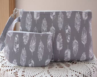 Feather Handbag, Smart phone Case, Gadget Feather Gray Pouch, Feather Clutch, Feather Wristlet Zipper