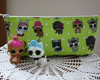 LOL Surprise Doll Pencil Pouch, Pencil Clutch, Party Favor, Pencil Bag, LOL Surprise Doll Pouch, Stocking Filler in Chartreuse