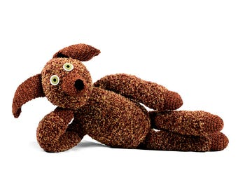 beau - brown fuzzy one of a kind handmade crocheted dog softie plush animal