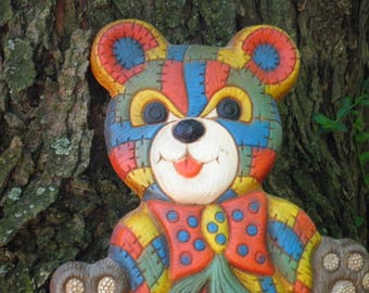 Vintage Teddy Bear Colorful Patchwork Wall Hanging / Wall Art - Circa 1970s - Kitschy Retro Bear / Teddybear Kids Room / New Baby Decor Gift