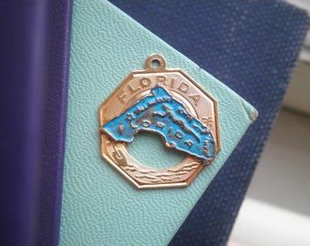 Vintage State of Florida 12k Gold Fill + Blue Enamel Souvenir Charm - Retro Old Stock Florida State Pride Jewelry - Holiday Stocking Gift