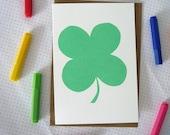 Four Leaf Clover screenprinted good luck card
