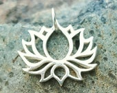 ON SALE TODAY Lotus Flower Charm - Silver Open Lotus Necklace - Yoga Jewelry