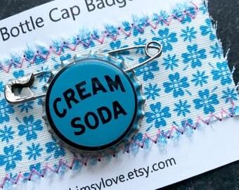 Vintage Cream Soda Bottle Cap Badge