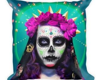 Dia De Los Muertos Artwork on Square Pillow