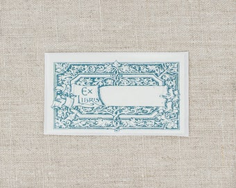 teal scroll bookplates - ornate frame bookplate stickers - Ex Libris - custom bookplates - personalized book plate - gift for bookworms