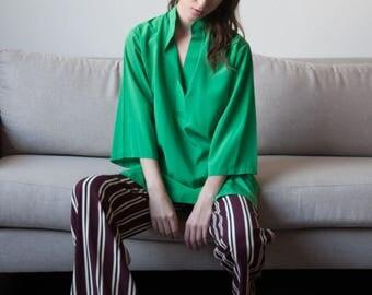 70s green tunic blouse / three quarter sleeve top / s / m / 2805 / B18