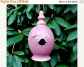ON SALE Pink Ceramic Birdhouse Wheel Thrown Clay Pottery