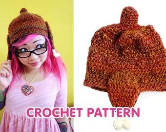 Turkey Hat with Drumstick Ear Flaps - Crochet Pattern PDF